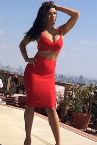 Red Two-piece Bandage Cropped Top Skirt Set