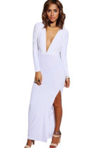 White Long Sleeve V-neck Split Jersey Maxi Dress