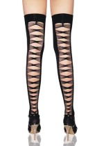 Lycra opaque thigh highs with criss cross back seam