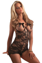 Black Lustful Valentine Open Crotch Teddy