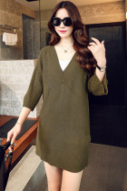 Army Green V-Neck Ribbed Pullover Sweater Dress