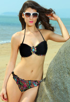 Distinctive Ethnic Print Sexy Bandeau Bikini Beach Wear