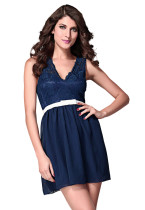 Navy Scalloped Lace Skater Dress