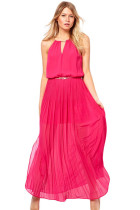 Red Chiffon Jersey Maxi Dress With Gold Chain