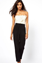 White&Black Bandeau Jumpsuit with Frill Front