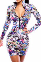 Well-toned Multicolor Long Sleeve Bodycon Print Dress