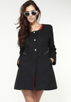 Black Ladylike Korean Style Jacquard Coat
