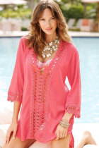 Sexy Casual Crochet Trim Rosy Cover-up