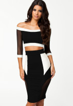 Party Focus Mesh Splicing Pencil Straight Midi Skirt Set