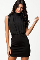 Sexy Intoxicating High Neck Black Vintage Dress