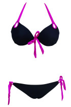 Black Push-up Halter Bikini with Fuchsia Detail