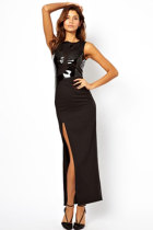 Sleeveless High Slit Leather Spliced Maxi Evening Dress