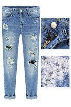Blue Street Fashion Bleached Ripped Jeans