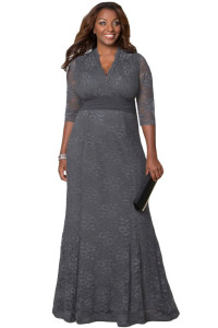 Grey Plus Size Lace Party Gown