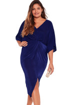 Blue Kimono Sleeve Knotted Pleated Front Plus Size Dress