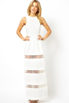 White Graceful Mesh Stitching Floor-length Maxi Dress