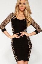 Sexy Party 3/4 Lace Vintage Dress in Black