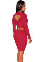 Red Cut-out Back Knit Dress