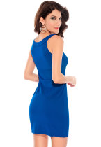 Keyhole Dress with Unusual Neckline Blue