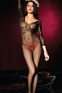 Lace Applique Fishnet Body Stocking