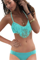 Fringe Bikini Top and Bottom Green