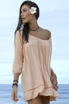 Sexy Summer Slight Hollow-out Apricot Beach Dress