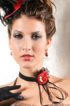 Gothic Lolita Rose Tassel Lace Necklace Red