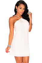 White Strappy Halter Skater Dress