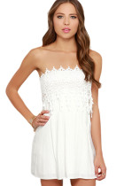 White Strapless Lace Skater Dress