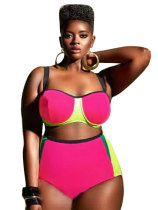 Rosy Plus Size High Waist Color Block Women Bikini