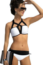 White and Black Cutout Design Two Piece Swimwear