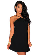 Black Strappy Halter Skater Dress