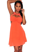 Coral Bralette Style Cutout Skater Dress