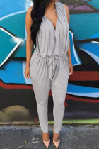 Gray Backless Pocket Design Harem Jumpsuit