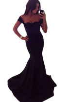 Black Sweetheart Off Shoulder Mermaid Prom Dress