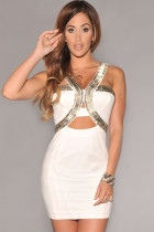 White Silver Embellished Cut-out Club Mini Dress