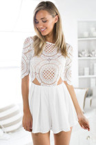 White Lace Chiffon Mix Match Playsuit