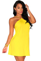 Yellow Strappy Halter Skater Dress