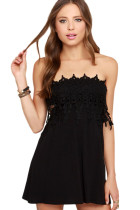 Black Strapless Lace Skater Dress