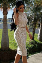 White Halter Neck Lace Skirt Set