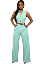 Light Blue Belted Wide Leg Jumpsuit