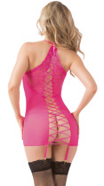All Lace up Two-piece Pink Chemise Set