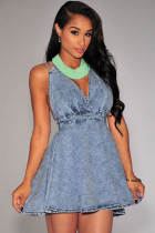 Denim CrissCross Halter Flared Dress