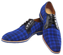 Oxford Real Leather Men Fashion Shoe Blue Grid Lace-up Dress Shoes 225-1