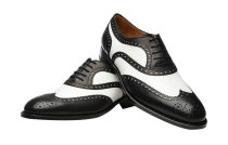 Geninue Leather Spectator shoes Men's Black White Lace Up Wing Tip Perforated Dress Shoes 5005-1