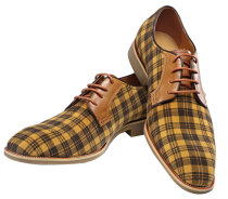 Oxford Real Leather Men Fashion Shoe Yellow Grid Lace-up Dress Shoes 225-1