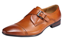 Vintage Style Men's Metal Buckle Genuine Leather Oxford Shoe Brown A00-B01WLN