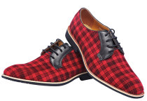 Oxford Real Leather Men Fashion Shoe Red Grid Lace-up 225-1HNJ