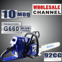 WHOLESALE MOQ 10 NOS 92cc Holzfforma Blue Thunder G660 Gasoline Chain Saws Power Head Without Guide Bar and Chain Top Quality By Farmertec One year warranty All parts are compatible with MS660 066 Chainsaw