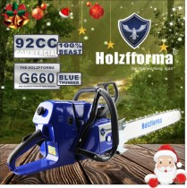 92cc Holzfforma Blue Thunder G660 Gasoline Chain Saw Power Head Without Guide Bar and Chain Top Quality By Farmertec One year warranty All parts are compatible with MS660 066 Chainsaw
